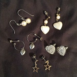 Simple heart, pearl, and star earrings